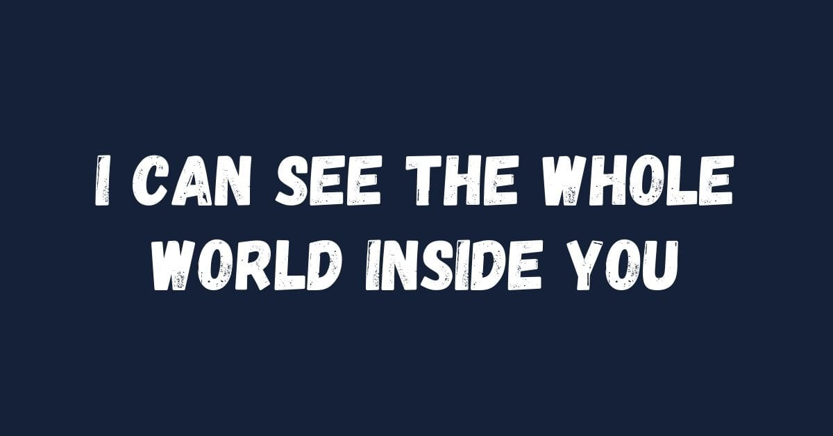 I can see the whole world inside you